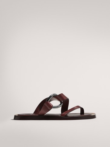 FLAT BURGUNDY SANDALS WITH BUCKLE LIMITED EDITION