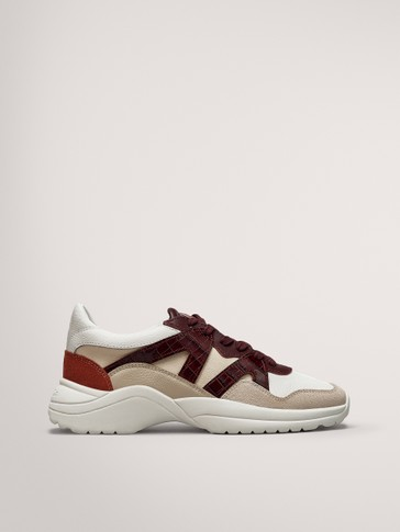 COMBINED TRAINERS WITH BURGUNDY PIECES