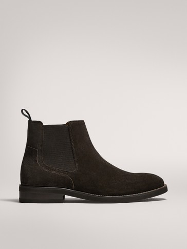 SPLIT SUEDE BROWN STRETCH BOOTS