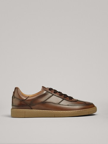 BRUSHED LEATHER TRAINERS