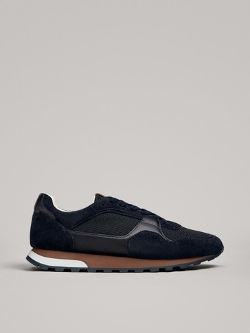 BLUE SPLIT SUEDE TRAINERS WITH TRACK SOLE