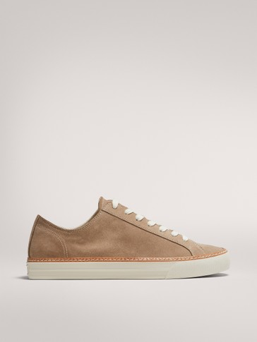 SAND-COLOURED SPLIT SUEDE TRAINERS WITH WELT