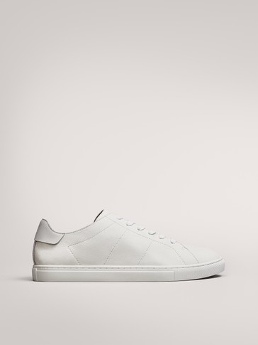 WHITE SOFT LEATHER TRAINERS