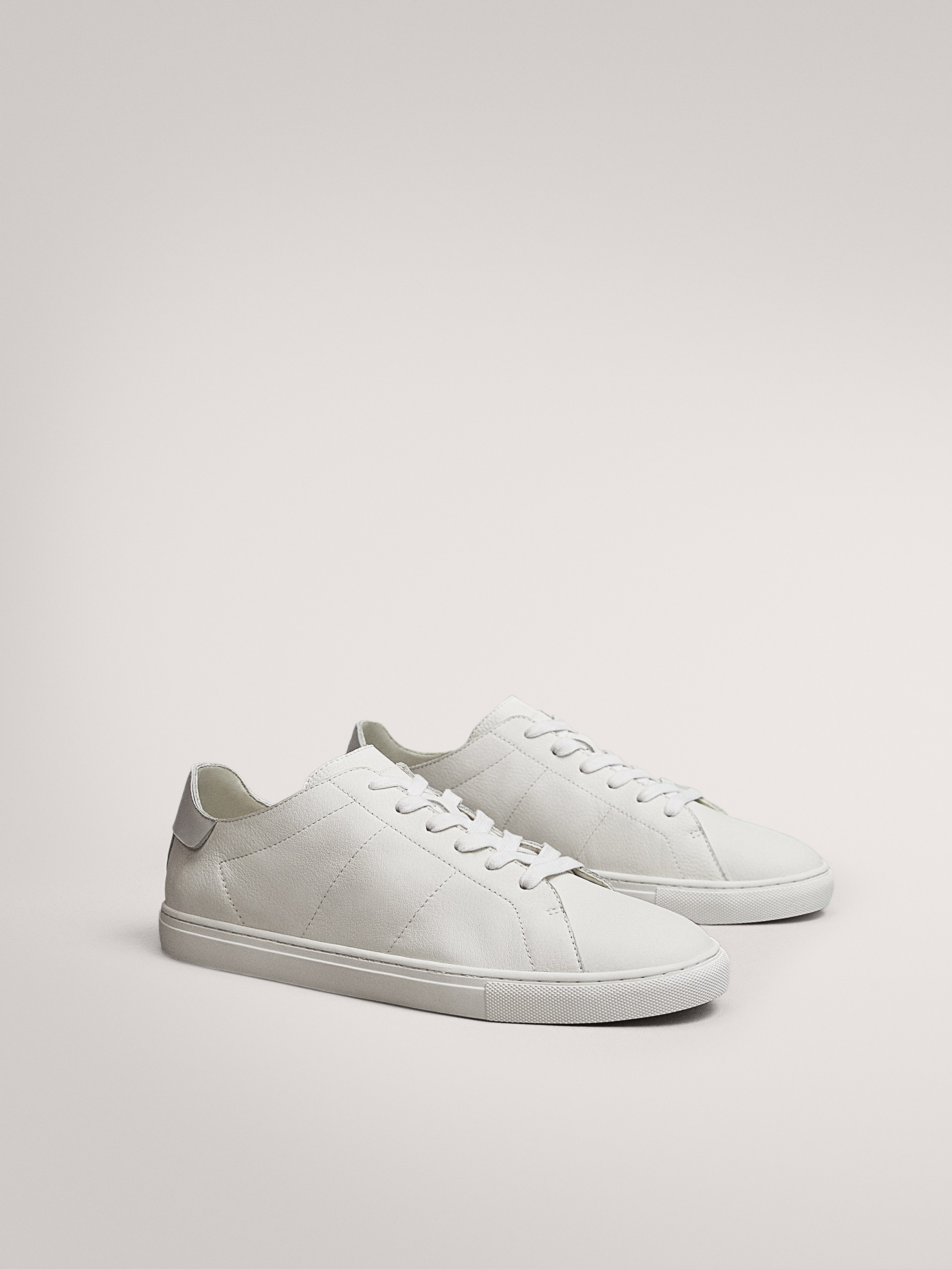WHITE SOFT LEATHER TRAINERS - null