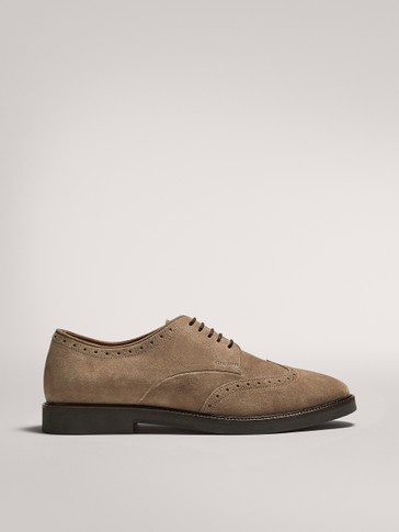 MINK-COLOURED SPLIT SUEDE SHOES