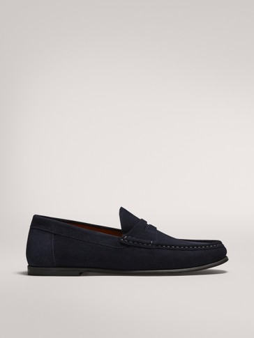 BLUE SPLIT SUEDE PENNY LOAFERS