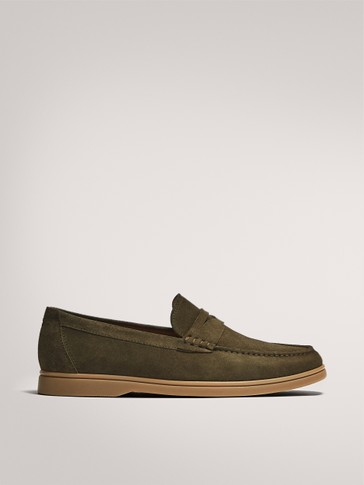 KHAKI DECK SHOES IN SPLIT SUEDE