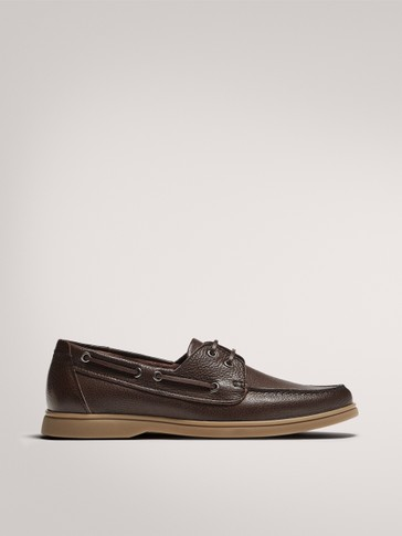 BROWN SOFT LEATHER DECK SHOES