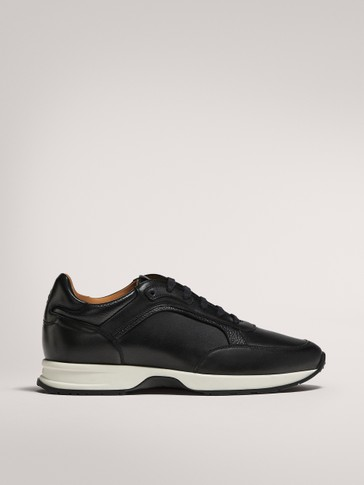 BLACK BRUSHED TRAINERS