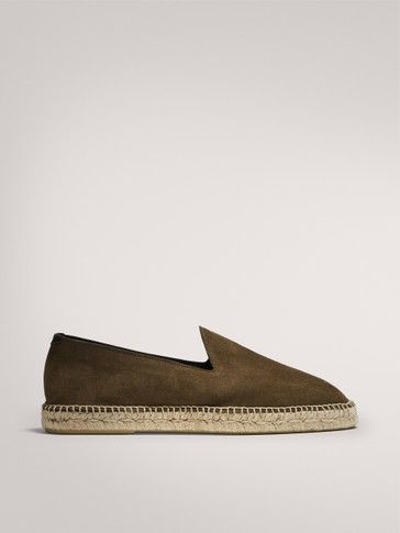 KHAKI ESPADRILLES IN SPLIT SUEDE AND JUTE
