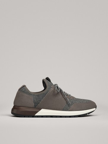 GREY SPLIT SUEDE AND FELT TRAINERS