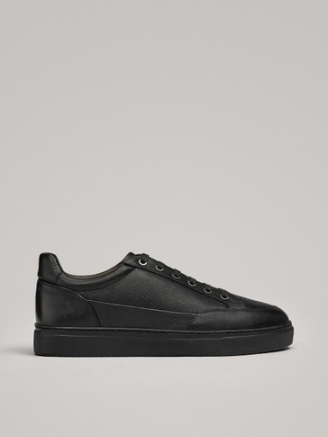 BLACK LEATHER TRAINERS WITH LAMBSKIN LINING