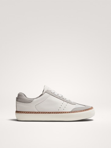 WHITE WELT LEATHER TRAINERS