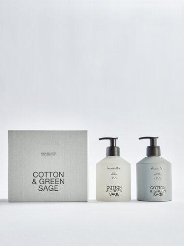 (250 мл) комплект лосион за ръце и тяло и гел Cotton & Green Sage