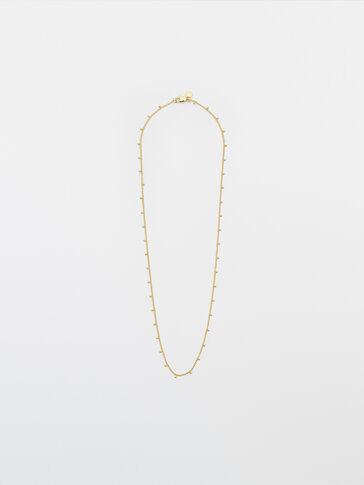 Gold-plated chain bead necklace