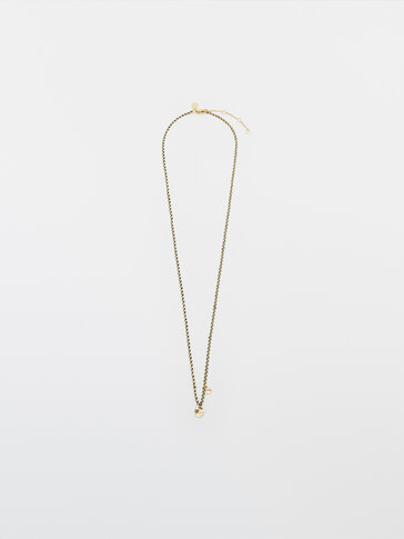 Gold-plated coin and coloured thread necklace