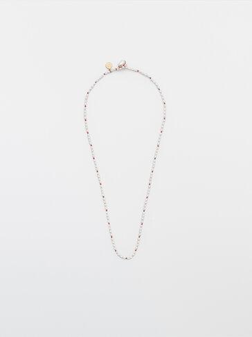 Collaret perles naturals fil taronja