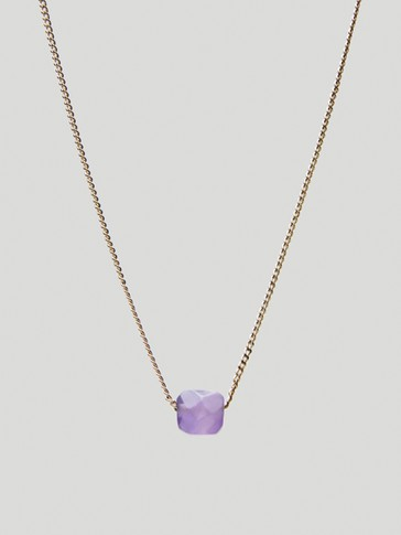 Gold-plated February stone necklace