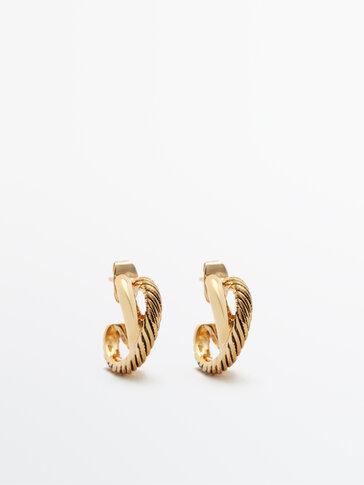 Позолоченные двойные серьги-кольца