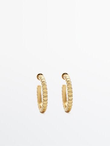 Позолоченные серьги-кольца с рельефным узором