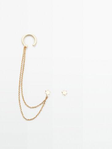 Bijoux d'oreilles étoile chaîne plaqué or