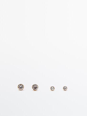 Lot de boucles d'oreilles sphère diamantée plaqué or