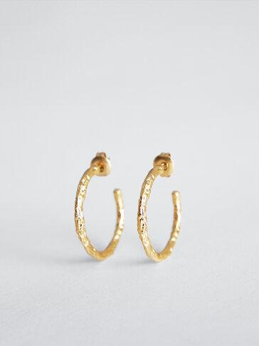 Gold-plated open hoop earrings