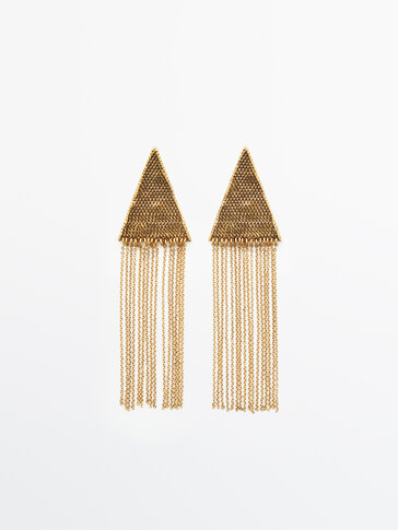 Gold-plated cascading triangle earrings Limited Edition