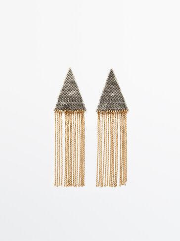 Позолоченные каскадные треугольные серьги, Limited Edition