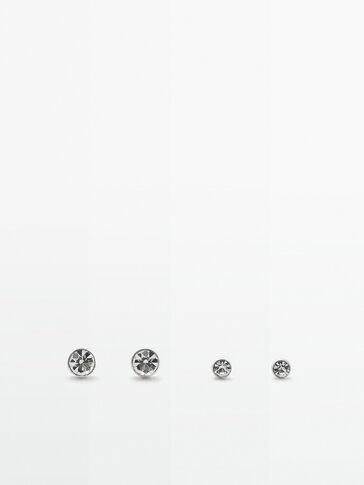 Set of silver crystal bead earrings