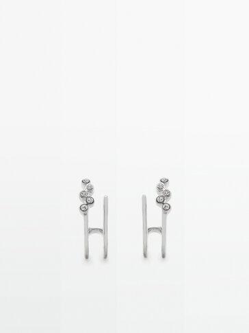 Boucles d'oreilles doubles cristaux argentés