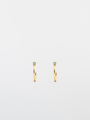 Gold-plated hoop earrings with stone