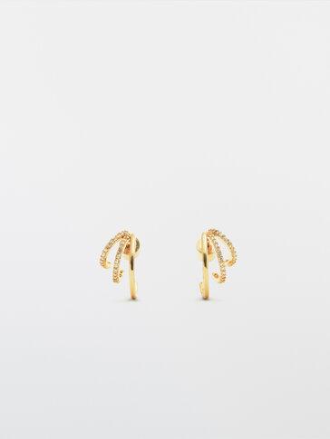 Gullfargede trippel-øreringer med krystall
