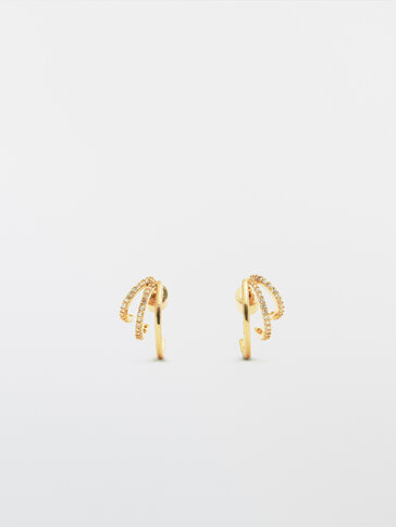 Gold-plated diamanté triple hoop earrings