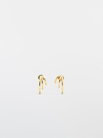Gullbelagte trippel-øreringer