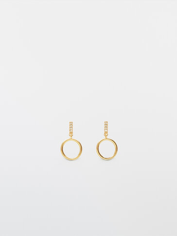 Gold-plated circle and diamanté earrings