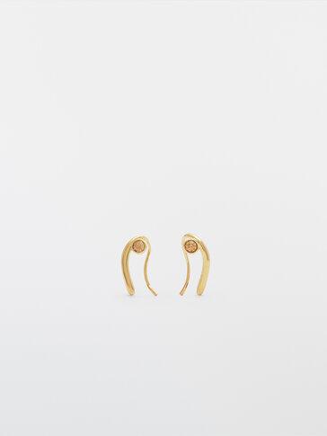 Gold-plated wrap diamanté earrings