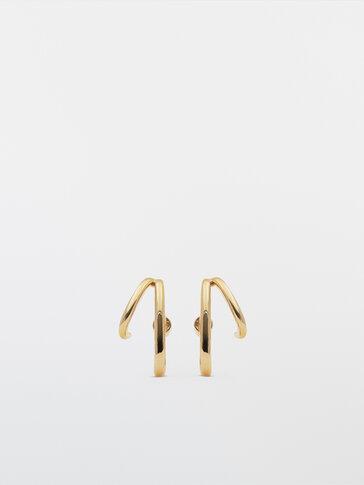 Gold-plated bar earrings