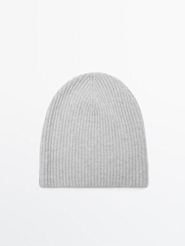 Bonnet côtelé en laine et en cachemire