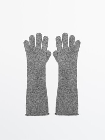 Cashmere and wool long gloves