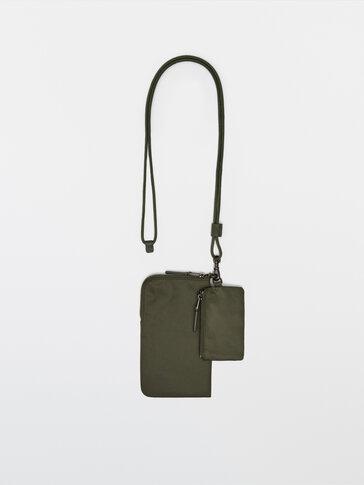 Najlonska torbica za mobitel s kožnim detaljima