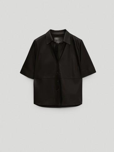 Schwarzes Kurzarm-Hemd aus Nappaleder
