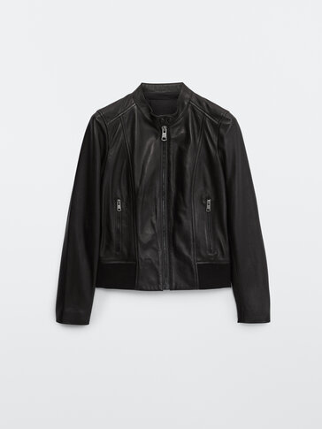 Nappa leather jacket with ribbed detail