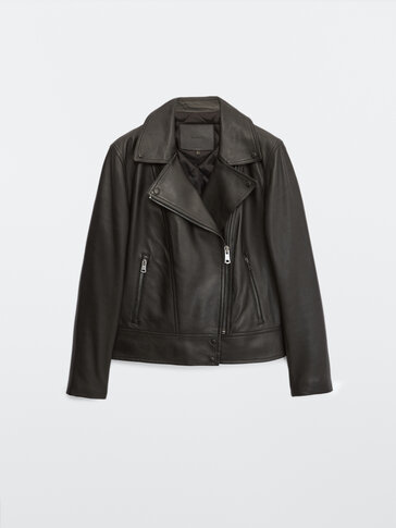 Cazadora biker piel negra