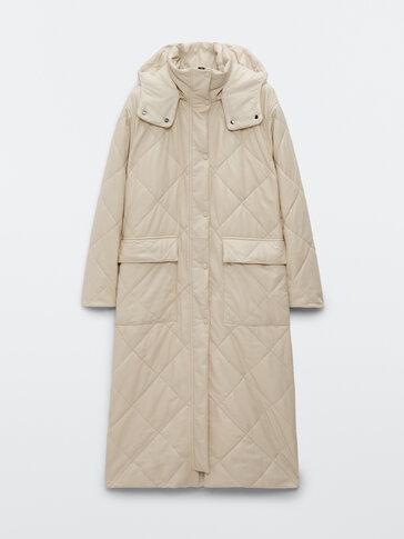 Nappa leather puffer coat