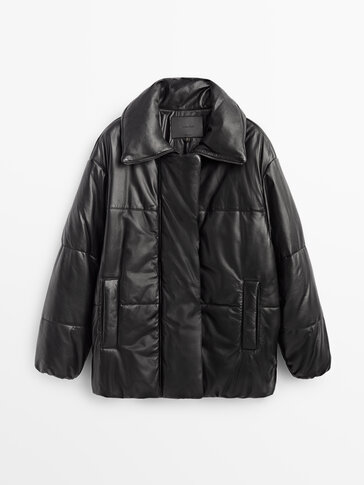 Črna jakna iz napa usnja