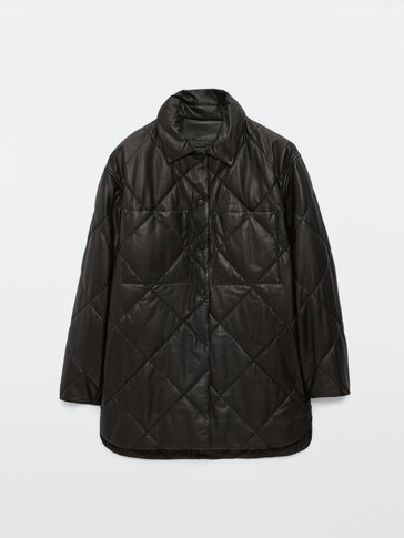 Black nappa leather quilted overshirt