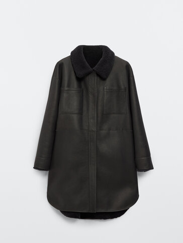 Reversible mouton leather coat