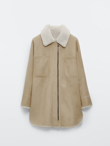 Reversible mouton leather overshirt