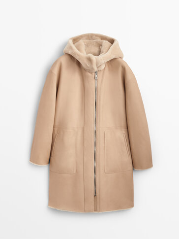 Hooded reversible mouton and leather coat
